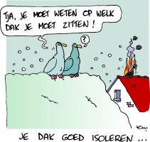 Energiekalender cartoon Dakduif