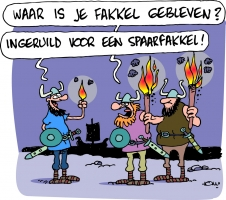 Energiekalender cartoon Spaarfakkel