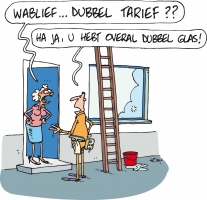 Energiekalender cartoon dubbel glas