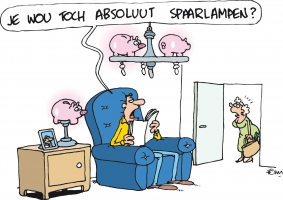 Cartoon energiekalender Spaarlamp